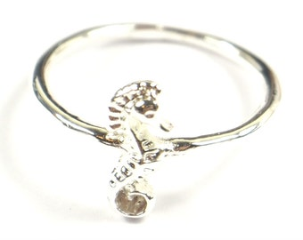 Silver Plated Sea Horse Ring