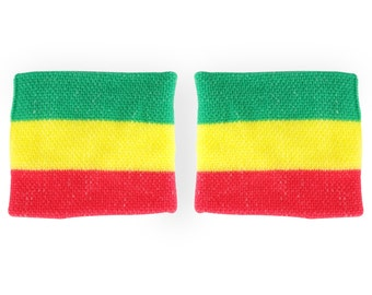 Rasta Green, Yellow and Red Colored 2 Piece Wristband Pair (RASTA-WRIST2-RGY)