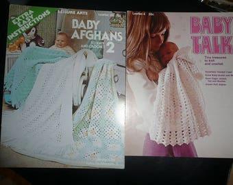 Vintage Baby Afghan Crochet & Knit Pattern Leaflets