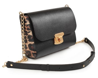 Leather Cross body Bag, Black Leather Shoulder Bag, Women's Leather Crossbody Bag, Leather bag KF-683