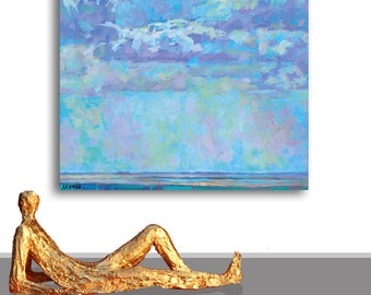 PAINTING BLUE SEA nature  ocean sky  inches original  contemporary art,  shipment included