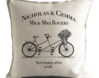 PERSONALISED Wedding Cushion Cover Gift - anniversary Valentines Day Mr and Mrs bride and groom - Tandem Bicycle - 40cm 16 inch