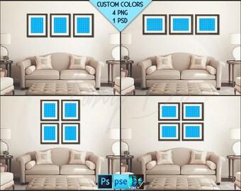 8x10 Living Room Interior Styled mockup | Set of 3 & 4 Wooden Portrait Landscape Frame | Modern interior PNG scene | Styled Photoshop mockup