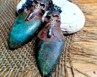 "Chrysocolla  Skull Pendant with 28"" Copper Chain. 27 X 70mm Pendant."