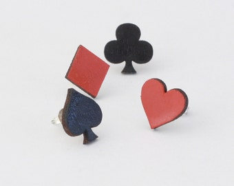 Wooden earrings, wooden stud earrings, heart, spade, diamond, club, card suit stud earrings, laser cut jewellery, laser cut earrings