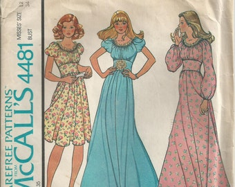 Gathered Dress With Puff Sleeves - McCall's Pattern 4481 - 1975 - Uncut