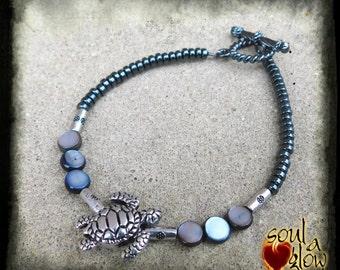 Protected Journey Bracelet - Hematite, Shell