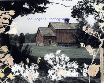 Litchfield Barn #3 - Hand colored Black and White photograph