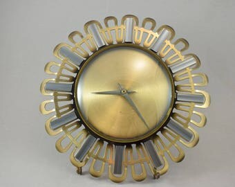 Old German starburst sunburst wallclock mid century modern vintage brass modernist