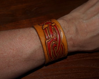 Leather Viking bracelet, Jellinge style.