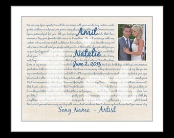 1st Paper anniversary gift for husband wife, custom first dance song lyrics,personalized anniversary gift, song lyric wall art, custom print