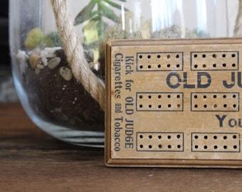 Rare Antique Cribbage Board Game, Old Judge Cigarettes, advertising sign