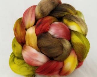 merino roving, 14.5 micron merino combed top for spinning or felting, hand dyed ultrafine merino wool -- 4oz.