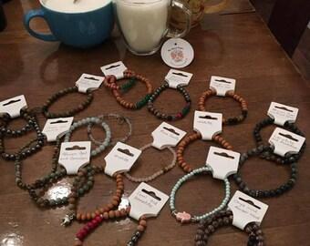 Crystal bead wooden handmade bracelets
