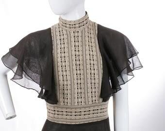 Vintage Gauzy Cotton Semi Sheer Chocolate Maxi Dress