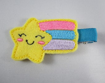 NEW shooting star felt embroidered hair clip