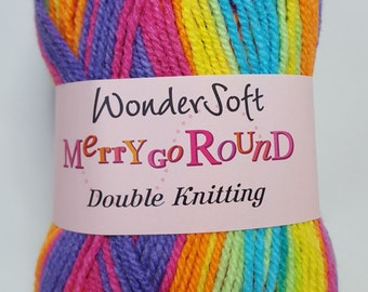 Stylecraft Wondersoft, Merry Go Round, DK, RAINBOW, 100g, self striping yarn, blue, pink, green, yellow, orange, rainbow yarn