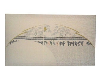 Chinoiserie Style 1970's Silkscreen Large Wall Hanging