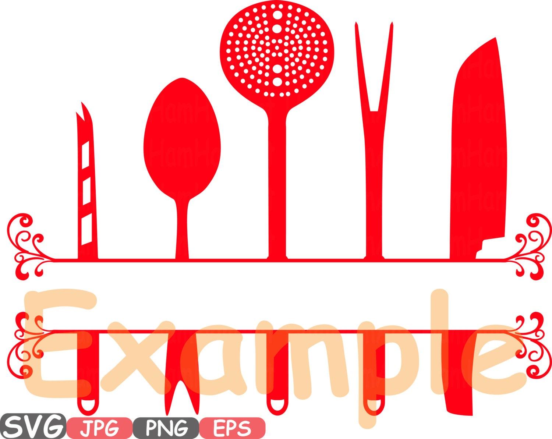Kitchen svg kitchen utensils clipart restaurant clip art chef - Split Kitchen Svg File Cutting Files Cricut Cameo Kitchen Utensils Silhouette Svg Cooking Food Stickers Clipart Tools Clip Art 573s