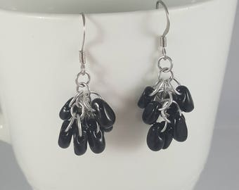 Chainmaille and Beads Shaggy Loops Earrings