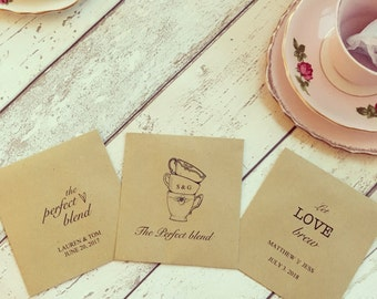Tea bag wedding favours, afternoon tea party, wedding favours, personalised favours