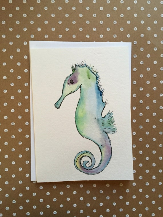 Seahorse Card, Watercolor Seahorse Card, Hand Painted Seahorse Card, Handmade Seahorse Card, Watercolor and Ink