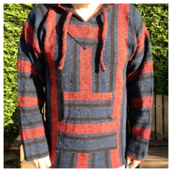 Size - XL - Unisex Baja Mexican Hoodie Jackets Stripe Colourful Hippie Boho Festival