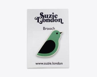 Songbird Brooch in Green – 60s 70s retro Scandinavian bird pin in red by Suzie London