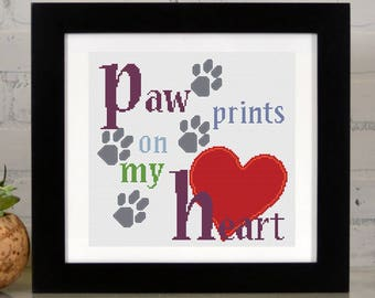 Paw Prints on my Heart - Counted Cross Stitch Kit