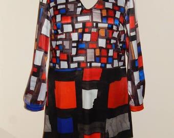 Piet Mondrian dress, A-line dress, colorful, size EU 40 (size USA 10, size UK 12), satin cotton, lining