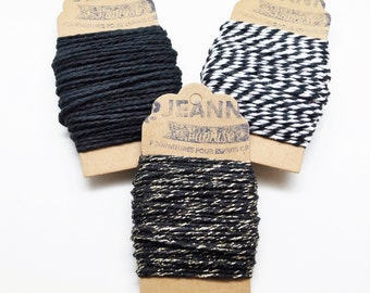 Kit 3 coupons cotton strings baker's twine, black, black and white, black and metallic thread, 3 x 10 m