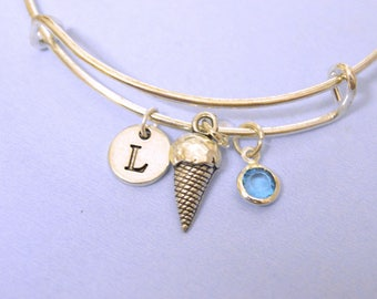 Ice Cream Cone Pendant, Ice Cream Cone bracelet, Icecream Bracelet,charm bangle, frozen dessert, food charm, Expandable bangle, Initial