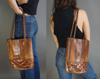 Vtg 70s Genuine Snakeskin Leather Tote || Large Black Brown Leather Purse || Shoulder Bag Large Bag Tote || Free Shipping in USA