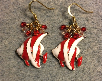 Red and white striped enamel angelfish charm earrings adorned with tiny dangling red and clear Czech glass beads.
