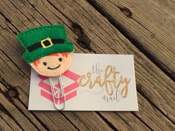 St. Patrick Leprechaun Clip/Planner Clip/Bookmark. St. Patrick's planner clips. St. Patty's