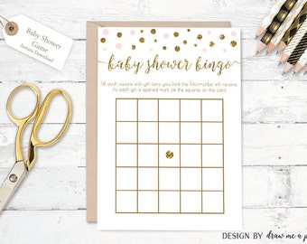 Pink and Gold Baby Shower Bingo , Pink and Gold Bingo , Confetti Baby Shower Bingo , Pink Baby Shower Game , Printable , Instant Download