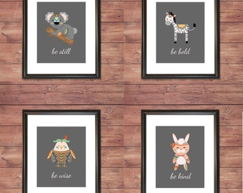 Hippie Bohemian Animals - SET OF 4 - Inspirational - Wall Prints