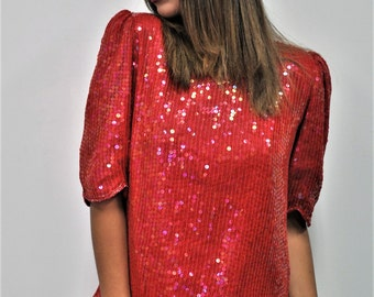 Vintage Red Sequined Blouse
