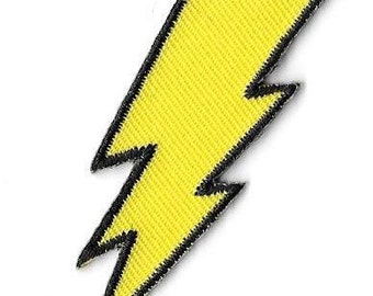 Lightning Bolt Embroidered Patch / Iron On Applique, Rock & Roll, Glam, Retro