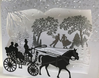 Unique 3D Vintage Horse and Carriage Box Card, Hand Made Christmas Box Card, 3D Diorama Card, Vintage Christmas Card,Luxury Holiday Box Card