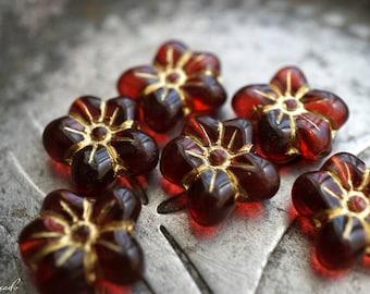 Scarlet Roses, Flower Beads, Czech Beads, Beads, N2413