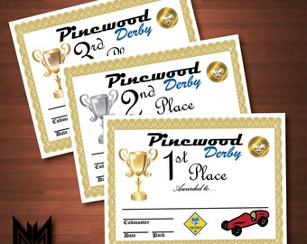 Printable Pinewood Derby Certificates + Weigh-In Sign - BSA Cub Scout - Pinewood Derby - Award - Pack Meeting - Instant Download - PDF File