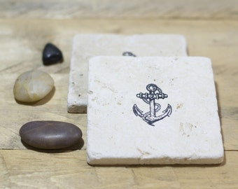 Anchors Away - Set of 2 or 4 - Nautical - Hand Stamped Natural Stone Coasters - Rustic Home Decor - Housewarming - Cottage Decor - Beach