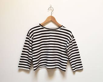 Black and White Cropped Breton Shirt