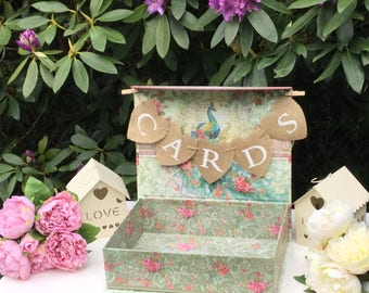 Wedding cards box, suitcase,wedding card holder heart cards bunting
