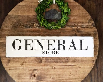 Rustic signs GENERAL STORE kitchen sign, farmhouse decor, cottage decor, distressed, free shipping