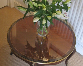 Continental Circular Ormolu-Mounted Inlaid Kingwood? Coffee Table