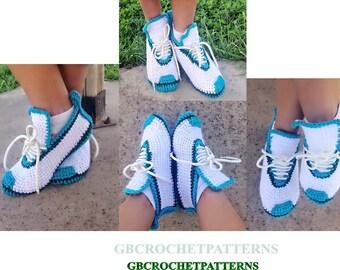 Crochet Pattern, Nike Men's slippers, Sport Shoes, Shoes crochet pattern, US Teens 3-7, Men US 3-12, UK  2-11, women US6-11, with video,Sh06