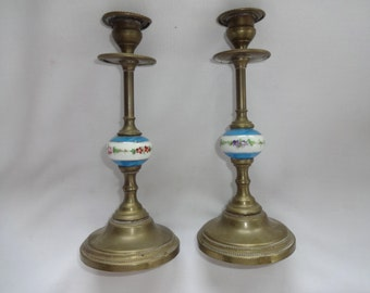 Victorian candlesticks Brass and painted porcelain
