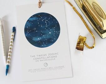 2017 Calendar | Zodiac | Constellations | Watercolour | Stars | Astrology | Watercolor | Wall calendar